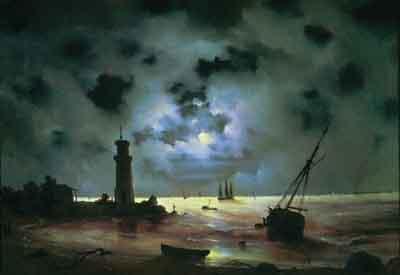 s10-014. Берег моря ночью. У маяка