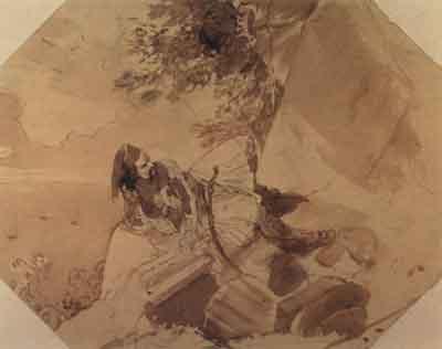 s25-004 Грек, лежащий на скале