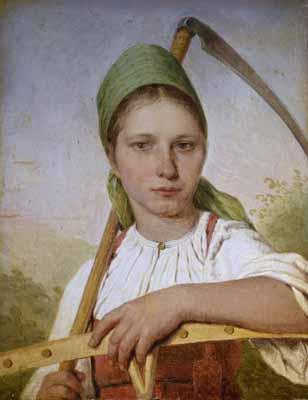 s41-005 Крестьянка с косой