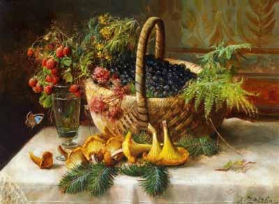 s90-005 Натюрморт с ягодами и грибами