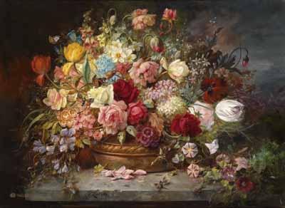 s90-006 Букет цветов в медной вазе