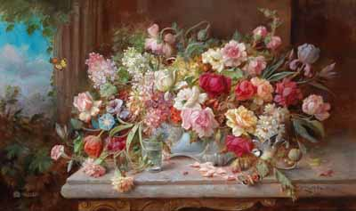 s90-018 Натюрморт с цветами