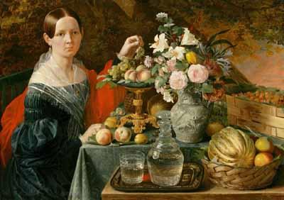 s98-005 Портрет неизвестной с цветами